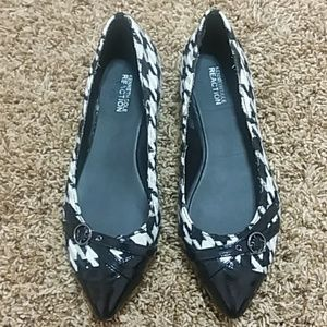 Kenneth Cole reaction black white houndstooth flat